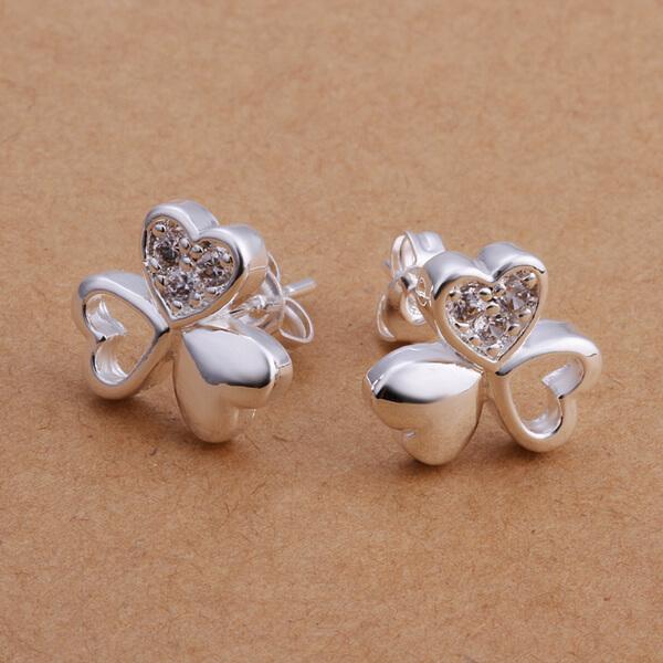 143ccd43f Technowise360 - Juri Triple Heart Stud Earrings 925 Silver Plated