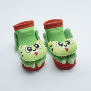 Orange and Green socks with Green Cat head design