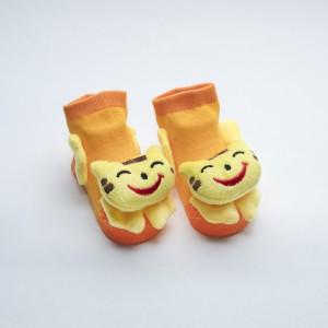 Orange and Yellow Socks with Yellow Happy Cat head design