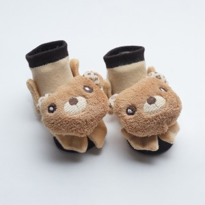 Darkbrown and Brown Socks and with Brown Bear head design