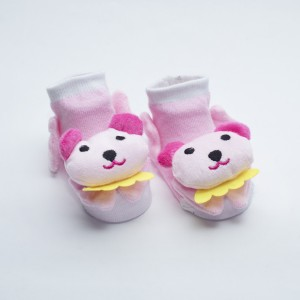 White and Light Pink Socks with Pink Dog head yellow scarf design
