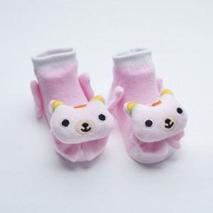 White and Light Pink Socks with Pink Cat Orange Crown head  design