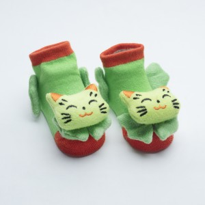 Orange and Green socks with Green Cat head close eyes  design