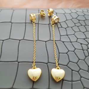 Dion Heart-shaped ear nail18k Gold Plated Dangling Earrings