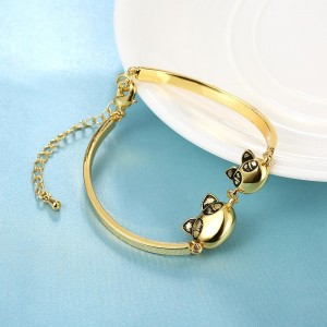 Persian Cat Two Heads 18k Gold Plated Bracelet