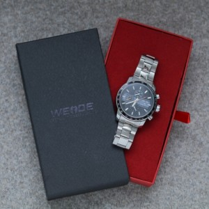 Anthony Stainless Steel Watch by Weide (Black Face with Orange Dial)