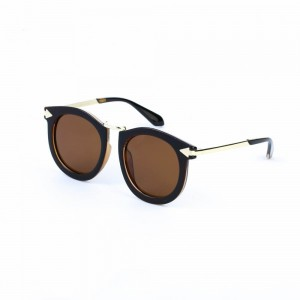 Florida Round Gold Rum with Black Rim Sunglasses
