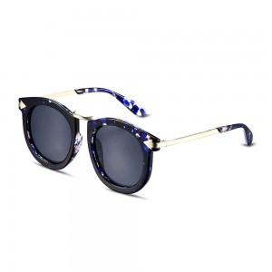 Florida Round Jet Black with Abstract Print Rim Sunglasses
