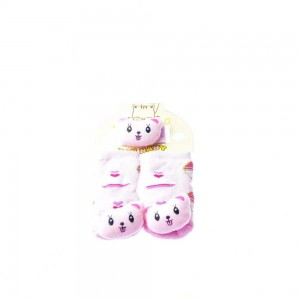 Rattle Socks with Wrist Set #22 Pink with Heart Shapeand Happy Bear Head Design