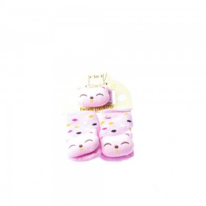Rattle Socks with Wrist Set #24 Pink and Polca Dots with Bear-Like Head Design