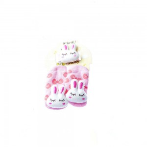 Rattle Socks with Wrist Set 25 Pink with Ribbon and Sleeping Bunny Head Design