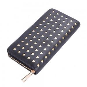 Laura Hearts Zip Wallet in Black