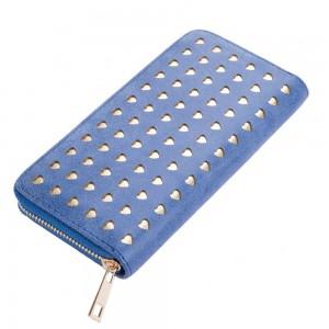 Laura Hearts Zip Wallet in Blue