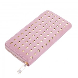 Laura Hearts Zip Wallet in Pink