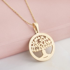 Arwen Tree Stainless Steel Gold Plated Necklace