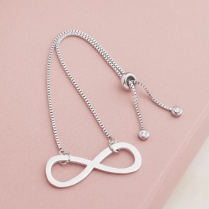 Gail Infinity Stainless Steel Silver Plated Bracelet