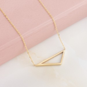 Triah Triangle Stainless Steel Gold Plated Necklace