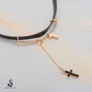 Jazie Stainless Steel Gold Plated Choker Necklace