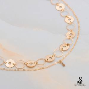 Madison Stainless Steel Gold Plated Double Layered Necklace