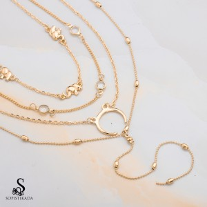 Ozelle Stainless Steel Gold Plated Triple Layered Necklace