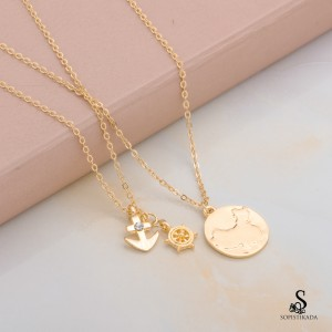 Sadie Stainless Steel Gold Plated Double Layered Necklace