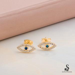 Ayna Blue Eye Stainless Steel Gold Plated Earrings