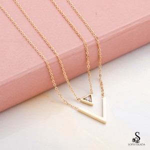 Velo Stainless Steel Gold Plated Double Layered Necklace