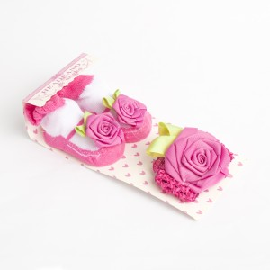Fuschia Floral Headband and Socks