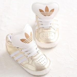 Baby Gloss Hicut Prewalker Shoes (Gold)