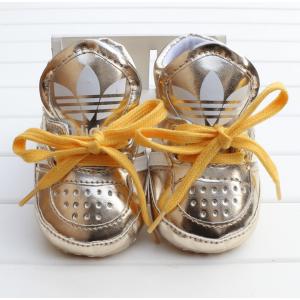 Baby Ribbon Tie Prewalker Shoes (Gold)