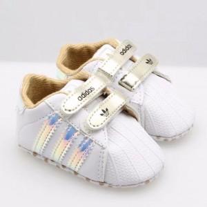 Baby Soccer Prewalker Shoes (White and Gold)