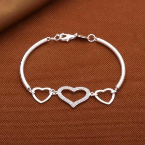 925 Sterling Silver Love Triangle Bangle