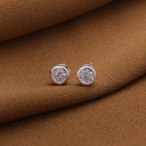 Annie Round Stone 925 Silver Stud Earrings 4mm