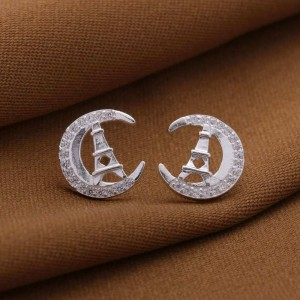 Crescent Moon 925 Sterling Silver Earrings by Argento