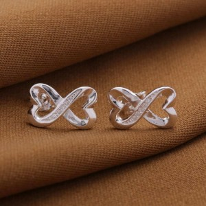 Infinity Heart C Stud Earrings