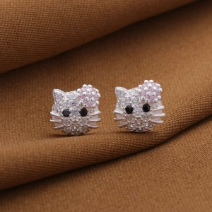 Hello Kitty Stoned Face Earrings