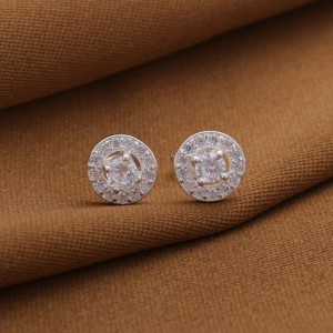 Selena Round with Center Stone 925 Silver Earrings 1.5g