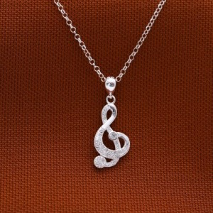 Whitney Stoned Musical Note 925 Silver Necklace