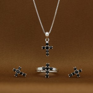 Magdalene Black Cross 925 Silver Earrings, Necklace and Ring Set(Clearance Sale SRP1,100)