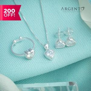Caroline Heart Stone 925 Silver Set for Kids by Argento