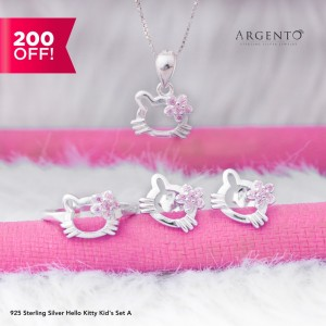 925 Sterling Silver Hello Kitty Kids Set A