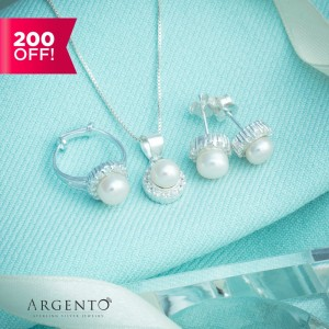 Pearl 925 Sterling Silver Kid Set by Argento