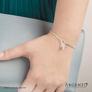 Austin Lock and Key 925 Silver Bracelet by Argento