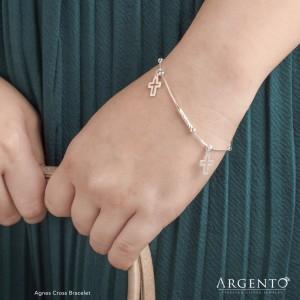 Agnes Cross 925 Silver Bracelet by Argento