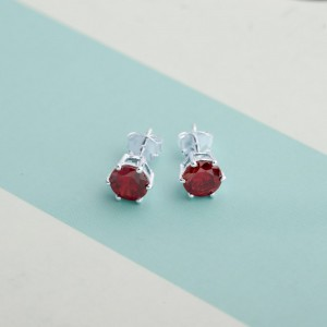 Garnet Birthstone 2 for January 925 Silver Earrings
