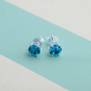 Aquamarine Birthstone 2 for March 925 Silver Earrings