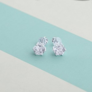 Crystal Birthstone 2 for April 925 Silver Earrings