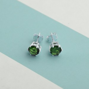Emerald Birthstone 2 for May 925 Silver Earrings