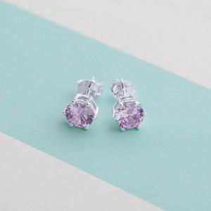 Light Amethyst Birthstone 2 for June 925 Silver Earrings