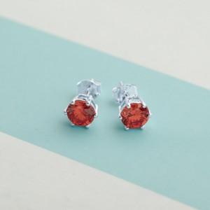 Ruby Birthstone 2 for July 925 Silver Earrings